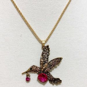 Betsey Johnson Crystals Hummingbird Necklace NWT